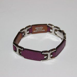 Hermes Paris Purple Leather H Link Bracelet